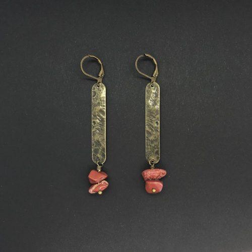 Boucles d'oreilles Artapaon Althaia Jaspe rouge